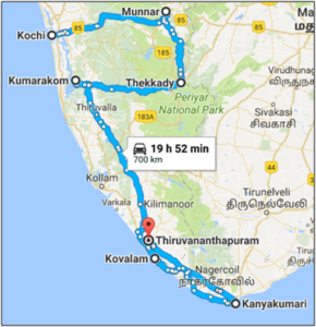 Kolorful Kerela - Route map