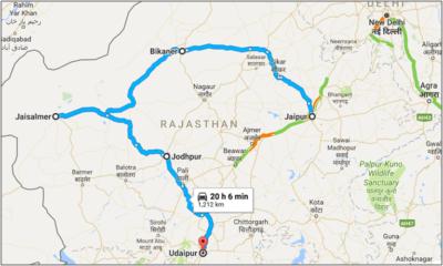 Royal Rajathan - Route map